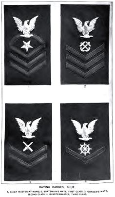 U.S. Navy Uniforms and Uniform Insgnia, 1917 -  Enlisted rating badges blue uniform 1 Chief Master-at-Arms 2 Boatswain's Mate, First Class 3 Gunner's Mate Second Class 4 Quartermaster Third Class
