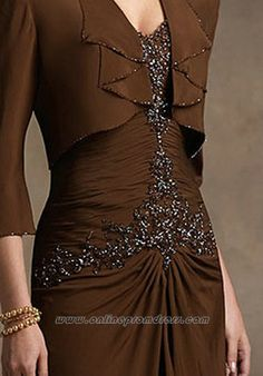 Brown A Line Vintage Strapless Beaded Floor Length Chiffon Mother of The Bride Dress@1.jpg 310×444 pixels