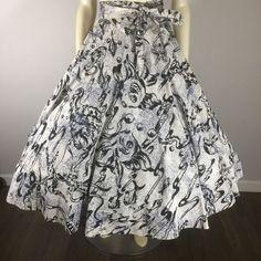 "Vintage 50s MERMAID Novelty Sea Creatures Circle Skirt  211"" SWEEP Pinup VLV M #Unbranded"