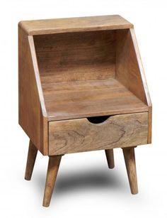 Szafka nocna drewniana pomocnik drewniany w stylu skandynawskim Mango Mango naturalne (OSLO-ST15)