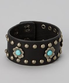 This I Love Accessories Turquoise Studded Black Leather Bracelet by I Love Accessories is perfect! #zulilyfinds