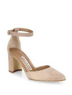 MANOLO BLAHNIK Lausam Suede Ankle-Strap Block-Heel Sandals. #manoloblahnik #shoes #sandals