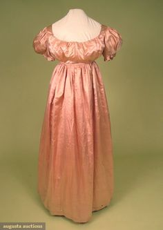 1790-1810 Regency Pink Satin Gown; Provenance Campbell-Plumstead-Ross family of Philadelphia, 1-piece Empire dress, short puff sleeves, drawstring neckline, center back tie closure