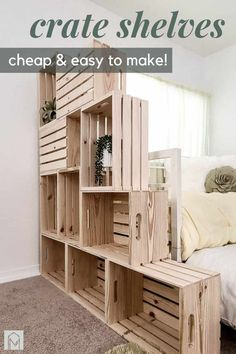 Are you living in a tiny apartment or house and need extra storage? Build your own DIY wood crate shelves for just $100! #DIY #wallstorage #woodcrate #crates #shelves Shelves, Simple Storage, Crate Bookshelf, Crates, Home Decor, Wood Crate Shelves, Wood Diy, Home Diy, Diy Projects Using Wood
