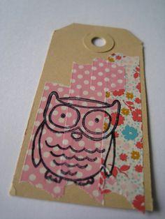 gift tag girl. masking washi tape and stamping