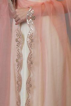 Pressed Rose Gota Patti and Mirror Work Dupatta - Modern Embroidery Neck Designs, Embroidery Suits Design, Hand Work Embroidery, Embroidery Fashion, Kurti Embroidery, Sleeves Designs For Dresses, Dress Neck Designs, Fancy Dress Design, Lace Design