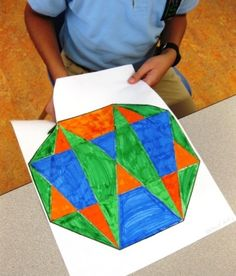 My grade five students finished their geometric art designs. This was a lesson we did during Ramadan to celebrate the beautiful and different geometric designs found in Islamic art. Each student re…