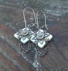 shell cross vintaj brass and chain earrings by HandmadeByValerieK
