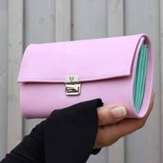 women leather wallet rose aqua