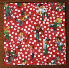 Vintage Hallmark Christmas Gift Wrap Wrapping Paper - BOYS Snowball Fight - 1950s