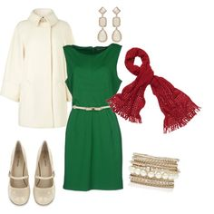 """""""Green, Cream, and Red Women's Holiday Outfit"""" by jessicaschmidt on Polyvore"""