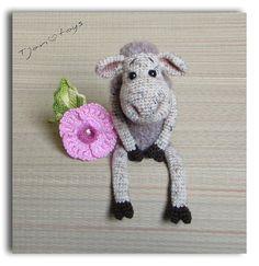 Lamb with flower OOAK Stuffed Animals Crochet Handmade от Tjan