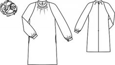 Dress with Floral Detail pattern flat line drawing www.sewingavenue.com