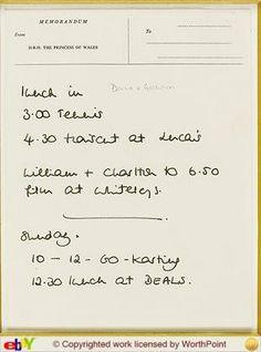 Princess Diana note