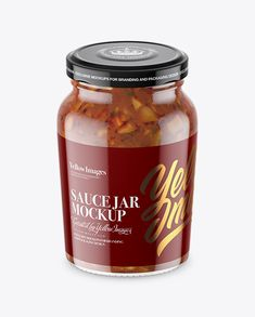 Clear Glass Jar with Bruschetta Sauce Mockup - High-Angle Shot
