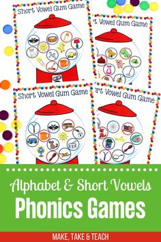 Your students will love learning those tricky short vowel sounds with this short vowel game! Ideal for learning short vowel sounds during small group instruction or during independent centers! Short Vowel Games, Short Vowel Activities, Alphabet Activities Kindergarten, Teaching Phonics, Short Vowels, Phonics Activities, Learning The Alphabet, Learning Spanish, Teaching Resources