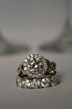 A match made in diamond heaven - a Forevermark diamond engagement ring and diamond wedding band.
