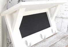 Chalkboard Shelf Coat Hook Shelf  Key Hook Rack by baconsquarefarm, $60.00