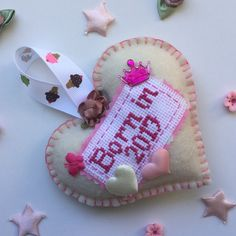 Princess felt hanging cream crown new baby gift custom made etsy born in 2017 baby girl custom made personalised felt hanging cream heart other colours available negle Images