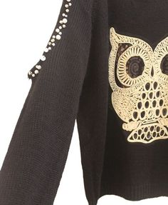 Black Knit Jumpers with Cold Shoulders and Embroidered Owl