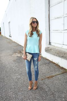 mint, distressed jeans, nude, glitter clutch
