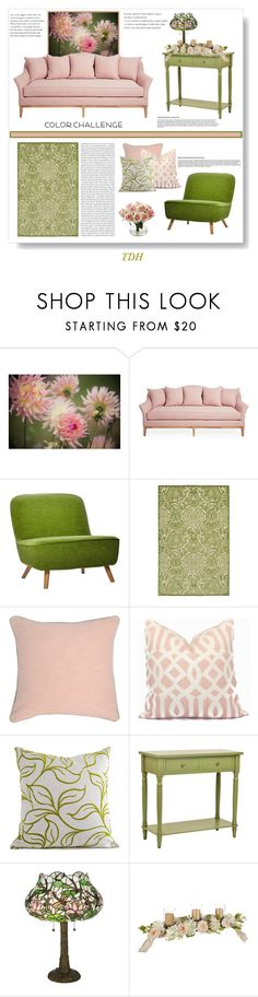 """Color Challenge - Green & Blush"" by talvadh ❤ liked on Polyvore featuring interior, interiors, interior design, home, home decor, interior decorating, Moooi, Oris, Villa Home Collection and Meyda"