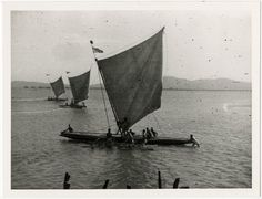 three large sail canoes at sea, each with numerous men on board; Mount Hagen(?), Papua New Guinea.