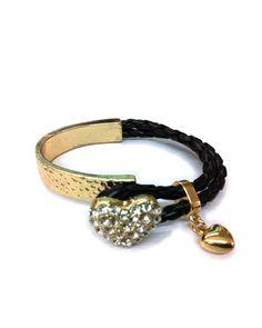 Gold Heart Charm Braided Bracelet by JewelMint.com