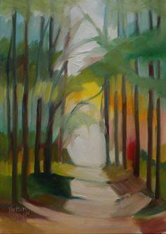 "Botany Bay Pine Forest 7""x 5"" oil on panel oil painting by CharlotteHutsonWrenn on Etsy"
