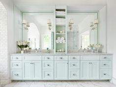 Browse pictures and get inspiration from this luxurious master bathroom remodel, featuring timeless design and smart space planning.