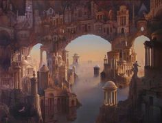 size: Stretched Canvas Print: Architectural Fantasy by Carl Laubin : Fine Art Using advanced technology, we print the image directly onto canvas, stretch it onto support bars, and finish it with hand-painted edges and a protective coating.