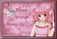 Bonne journée, manga, coeur, bisou, rose