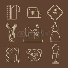 Vector sewing equipment and needlework icons set Sewing Equipment, Sewing Spaces, Fashion Logo Design, Clothing Logo, Sewing Leather, Sewing Table, Sewing Studio, Mug Rugs, Sewing Crafts