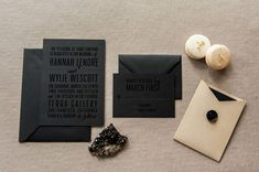 Modern black on black wedding invites are basically the Justin Timberlake of wedding invitations. All your guests will be dying to see what your event will look like. These bad boys are by . Foil Stamped Wedding Invitations, Black Wedding Invitations, Wedding Invitation Wording, Wedding Stationary, Invitation Design, Bachelor Party Invitations, Black And White Wedding Invitations, Invitation Suite, Invitation Cards