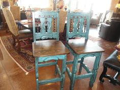 Rustic Furniture | Turquoise Painted Bar Stools | Cierra Interiors