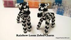 Rainbow Loom Zebra Charm - How to - Animal Series