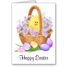 Chick in a Easter Basket Greeting Card .......... http://www.zazzle.com/chick_in_a_easter_basket-137990954321259571?rf=238631258595245556