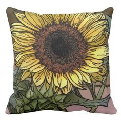 Sunflower Pillow - home gifts ideas decor special unique custom individual customized individualized