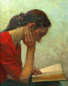 Lectora, en soledad con el libro (ilustración de Elmira Petrova)