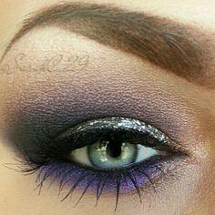 Silver and purple eyeshadow makeup