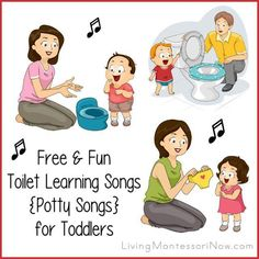 Lots of free, fun YouTube videos with toilet learning songs {potty songs} for toddlers at home or in a toddler program.