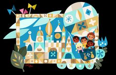 It's a Small World Ride- Disney Tokyo — Joey Chou Baby Disney, Disney Love, Disney Art, Small World Disneyland, Tokyo Disneyland, Illustrations, Children's Book Illustration, Joey Chou, Pinocchio Disney