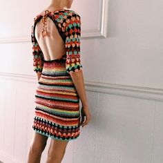 Groovy rainbow crochet dress by TessaPerlowInc on Etsy