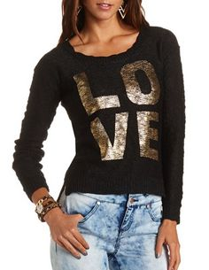 Hi-Low Foiled Love Pullover Sweater: Charlotte Russe