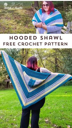 Free Crochet Patterns For Shawls Woodward Hooded Shawl Free Crochet Pattern Stitch Hustle Free Crochet Patterns For Shawls Gramercy Shawl Free Crochet Pattern Stitch Hustle. Free Crochet Patterns For Shawls Hug For Janice Shawl Free Crochet. Poncho Au Crochet, Mode Crochet, Crochet Shawls And Wraps, Crochet Scarves, Diy Crochet, Crochet Crafts, Crochet Clothes, Crochet Projects, Crochet Hoodie