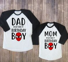 Mom and Dad of birthday boy- Spiderman Version, spiderman birthday, spiderman party, superhero birthday, matching parents, superhero shirt Welcome to JADEandPAIIGE! Below is a list of sizing and washing instructions for our products!Please remember the ink is fresh, so please be