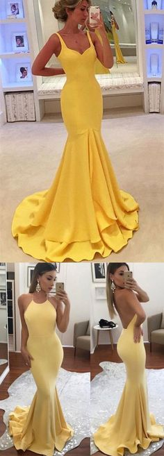 High Fashion Prom Dress,Halter Prom Dress,Mermaid Prom Dress,Sheath Prom Dress,Yellow Prom Dress,Long Prom Dress,Prom Dress,Prom Dresses,2017 Prom Dress,2017 Prom Dresses