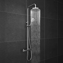 Cruze Round Thermostatic Bar Shower Valve & Riser Kit - Chrome at Victorian Plumbing UK Bath Shower Mixer, Shower Kits, Quadrant Shower Enclosures, Basin Unit, Bath Screens, Rainfall Shower, Shower Valve, Shower Systems, Rain Shower