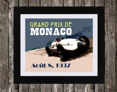 "Monaco Grand Prix Poster, Automotive Art, Vintage Auto Poster, 1930er Jahre Kunst, Car Racing, französische Kunst, Audi Art, 8 x 10"""