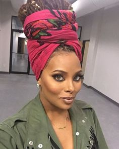 How to wear a scarf on your head turban twists 66 ideas My Hairstyle, Scarf Hairstyles, Braided Hairstyles, Eva Marcille, Top Model Usa, Curly Hair Styles, Natural Hair Styles, Headwraps For Natural Hair, Pelo Afro